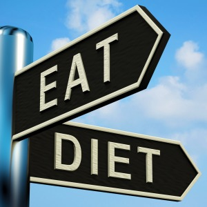 Eat Or Diet Directions On A Metal Signpost